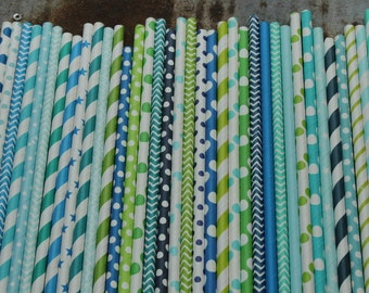 30 Boy Party Staws -- Blues and Greens -- tropical Ocean Water Paper Drinking Straws