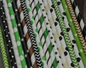 Camouflage Party Straws - Paper Straws - black, green, brown, Cream