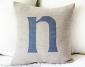 Monogram on Linen Pillow Cover Embroidered