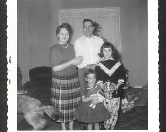 Vintage photo Children with Christmas Dolls Mom and Dad 1957