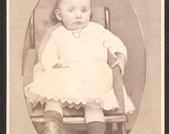 vintage photo Gracie Miller Downingtown PA 1870s Baby Girl in Chair CDV Mentzer Photographer
