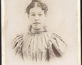 vintage photo 1890s Teen Girl hair ornaments Stripe Dress Muncie Indiana Cabinet