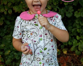 """Sassy Schoolgirl Button Up Shirt PDF Sewing Pattern.  Sizes 0-3 Months - 12, 18"""" doll"""