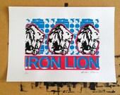 Iron Lion screen print edition of 20 (blue)