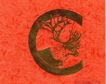 Caribou C Monogram Linocut - Alphabet Typographical Lino Block Print - C is for Cariboo, Reindeer, Antlers