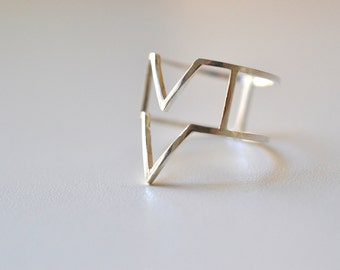 Hyper Mountains  - silver geometric ring