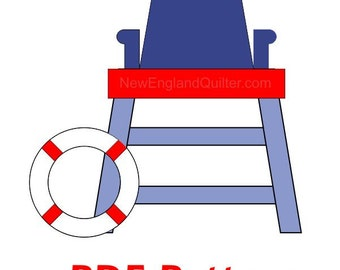 Life Guard Stand and Rescue Buoy Ring Applique PDF Pattern - Quilt Block  - Sewing - Crafts - Sand Ocean Sea - Instant Download