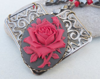 Red Rose Cameo and Hematite Necklace