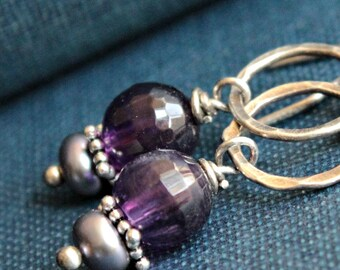 Violet Amethyst, Pearl and Sterling Silver Dangle Earrings - LUPIN