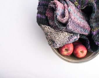 Handknit scarf of handspun yarns  / Andrus // gift for her or him teal  turquoise  soy  silk  violet  pine  plum  ooak