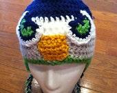 Seattle Seahawks Mohawk Earflap Beanie Skullcap Hat-all sizes newborn to adult