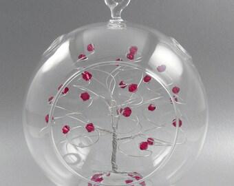 Christmas Ornament Ruby Red Swarovski Crystal Elements and Silver July Crystal Christmas Ornament