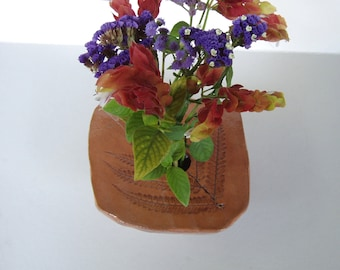 Fern Ikebana Vase . Hand Made Pottery