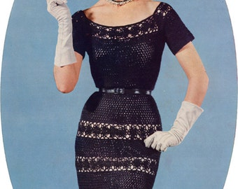 Vintage Crocheted Lace Dress - 1950s Crochet Pattern - PDF eBook