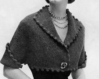 1950s Bolero Jacket, Vintage Knitting Pattern - Digital PDF E-Book