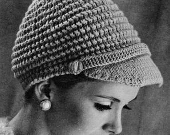 Ladies Peaked Hat - 1960s Hat Pattern - Vintage Knitting - PDF eBook