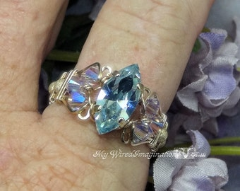 Alexandrite Swarovski Navette Marquise Hand Crafted Ring Wire Wrapped Original Signature Design Fine Jewelry June Birthstone