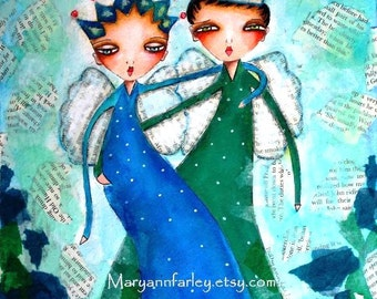 Art Print, 5 x 6.5 or 8 x 10, Storybook Boy and Girl (King and Queen) Illustration, King and Queen, Watercolor Mixed Media, Blue Green