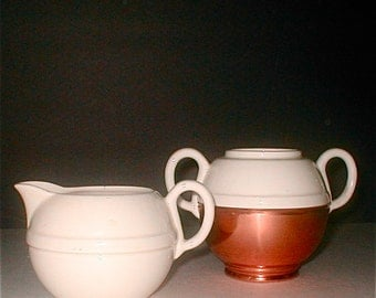 Benraad Cream and Sugar Ceramic and Copper Vintage 40s Serving Made in Holland Deco Design