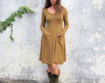 Organic Perfect Pockets Short Dress ( light hemp and organic cotton knit ) - organic hemp dress