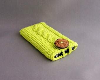 Cotton Knit Cell Phone Case, Gadget Cozy - Hand Knit Hot Green with Natural Coconut Button  Wonderful Gift