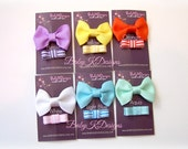 Two Baby Hair Clips / Newborn Hair Clips / Itty Bitty Baby Bow Clips / Toddler Girls Simple U Pick Newborn Bow Clips NEW FALL Colors Added