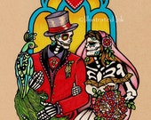 Dia de los Muertos WEDDING COUPLE Day of the Dead Art Print 5 x 7, 8 x 10 or 11 x 14