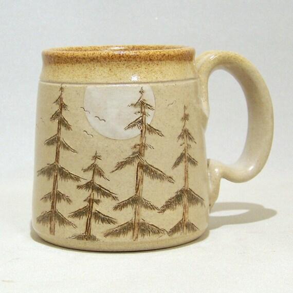 Pine Tree and Moon Pottery Coffee Mug Limited Series 75 (microwave safe) 12oz
