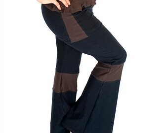 Yoga and Dance Flare Pants, attached skirt, festival - ZENA PANTS - elven, fairy, bellydance clothing