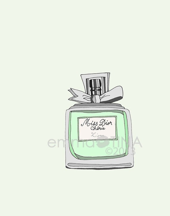 Miss Dior Cherie Leau Perfume Fashion Illustration Art Print