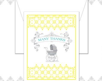 Baby Carriage Stationery Set of 10 includes envelopes