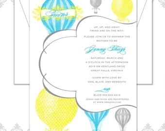 Twins Hot Air Balloon Shower Invitation