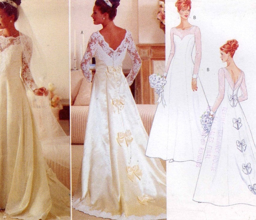 Romantic wedding dress sewing pattern wedding gown butterick for Butterick wedding dress patterns