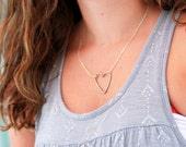 Wire Heart Necklace, Metalwork Necklace, Sterling Silver Necklace, Hammered Heart Necklace, Valentine, Girlfriend Gift, For Her Under 50