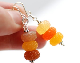 Autumn Earrings, Orange, Yellow and Brown Earrings, Candy Color Earrings, Dangle Earrings, Acrylic Jewelry, Sparkly Earrings - Sugar Plums