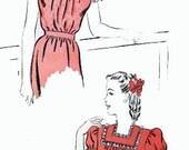 1940s Square neckline Blouse Advance 3994 40s Swing Era Vintage Sewing Pattern Size 12 Bust 30