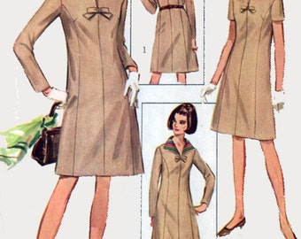 1960s Dress with Detachable Collar Simplicity 7320 Vintage 60s Mad Men Sewing Pattern Plus Size 18 Bust 38