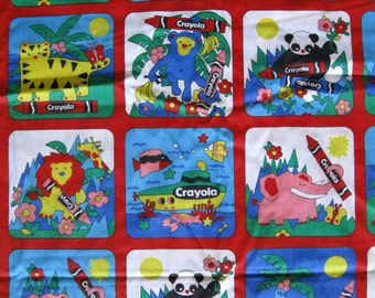 Vintage Crayola animal print, lions, pandas, elephants, sea creatures, monkeys, bright & primary colors and black
