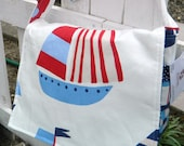 SALE Diaper Bag - Messenger Bag - Sailboats - Boats - Blue