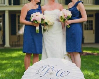 CUSTOM Personalized Wedding Parasol in White, Photobooth Prop, Thank You, Mr. & Mrs. Monogram