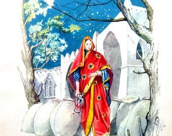 1950 Arabian Nights - Ali Baba - 1950 Vintage Book Page