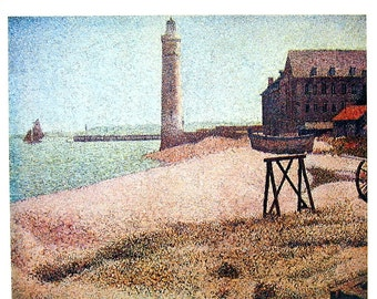 French Impressionist Art - Georges Seurat - The Lighthouse at Honfleur -  1977 Large Poster Sized Print 12 x 15