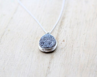Druzy Silver Necklace, Bezel Wrapped Sterling Silver Necklace in Gray, Teardrop Pendant