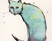 Original painting scraggle cat watercolor and ink ACEO
