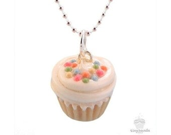 Scented Vanilla Sprinkles Cupcake Necklace Sweet Polymer Clay Pendant Buttercream Tasty Treat Cute Food Jewelry