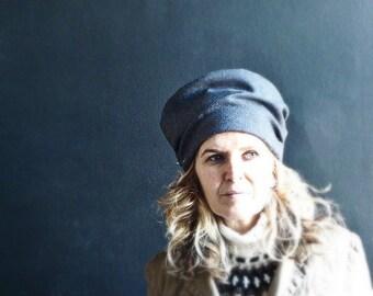 Dark Grey Tweed Wool Hat