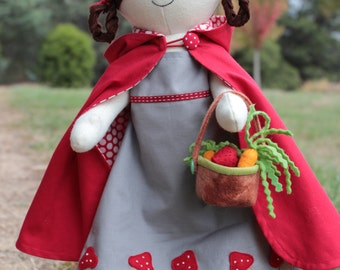 Little Red : red riding hood doll, red riding hood pattern, doll sewing pattern, cloth doll, doll with clothes, red riding hood toy