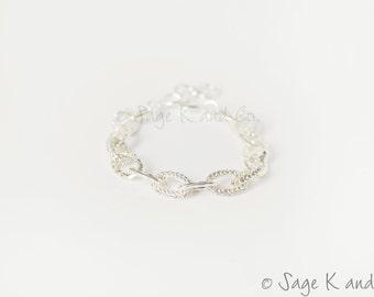 SALE - Mini Pave Link Chain Bracelet - Designer Inspired -  Dainty Pave Link Bracelet Silver