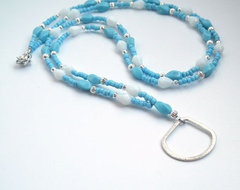 Aqua Blue and White Beaded ID Badge Lanyard,  Brushed Silver Plated Ring to Hold ID Badge
