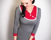 SOPHIE-01 grey/RED Polkadot 3/4 Sleeves Shirt